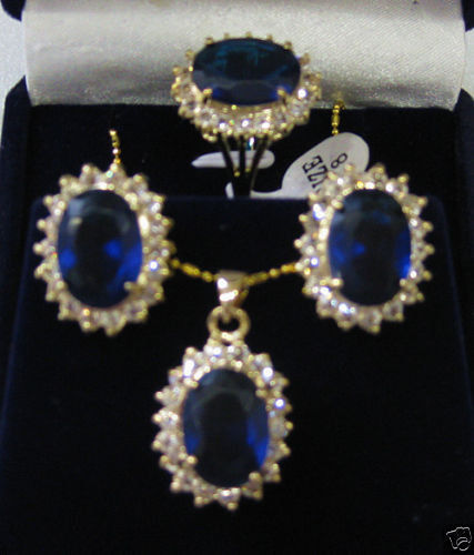 0bf01a376b64 Precio al por mayor 16new   noble cristal azul pendiente del ZIRCON tamaño  del anillo 7-9   Set