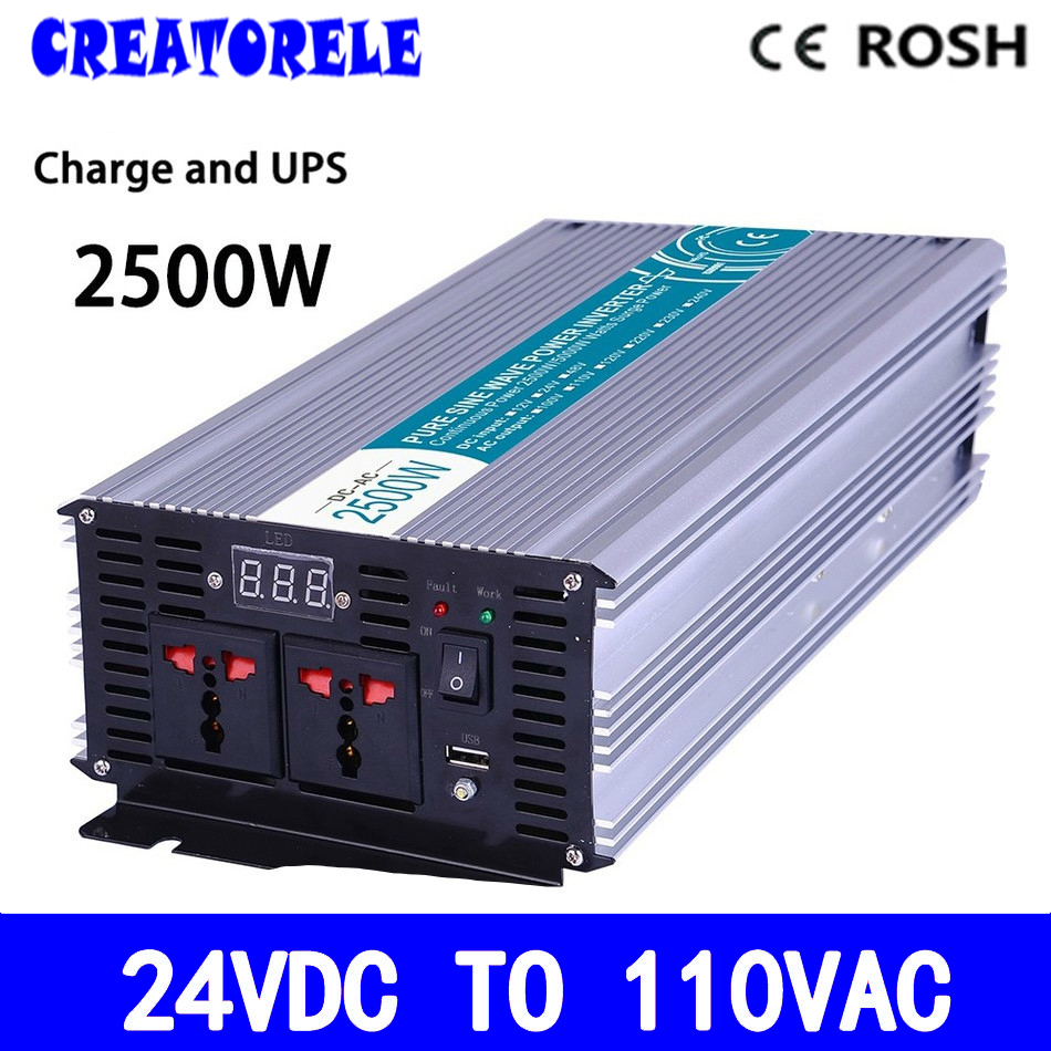 P2500-241-C 2500w UPS power inverte pure sine wave 24vdc to 110vac soIar iverter voItage converter with charger and UPS p800 481 c pure sine wave 800w soiar iverter off grid ied dispiay iverter dc48v to 110vac with charge and ups