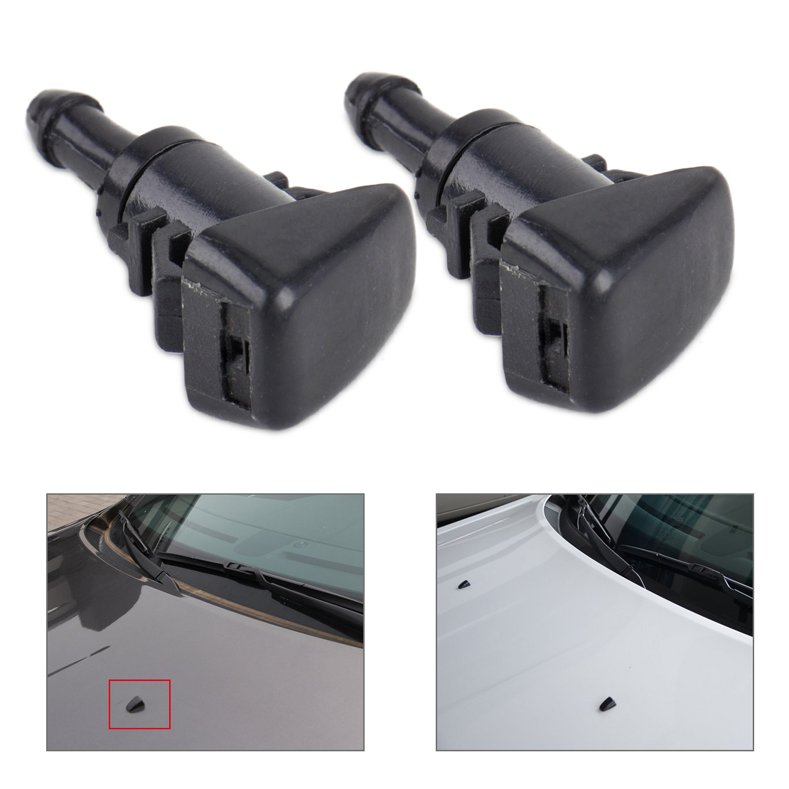 DWCX New 2Pcs Car 2 Hole Windshield Washer Wiper Water Spray Nozzle 47186 For Chrysler 300 Dodge Avenger Jeep Compass Ram 1500