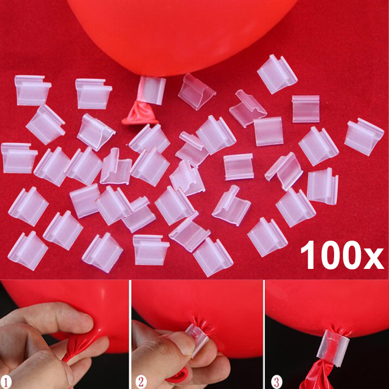 100pcs Latex Balloon PVC Clips Balloons Sealing Clamps Balls Accessories Clip Ballon Buttons Party Supplies FJ88