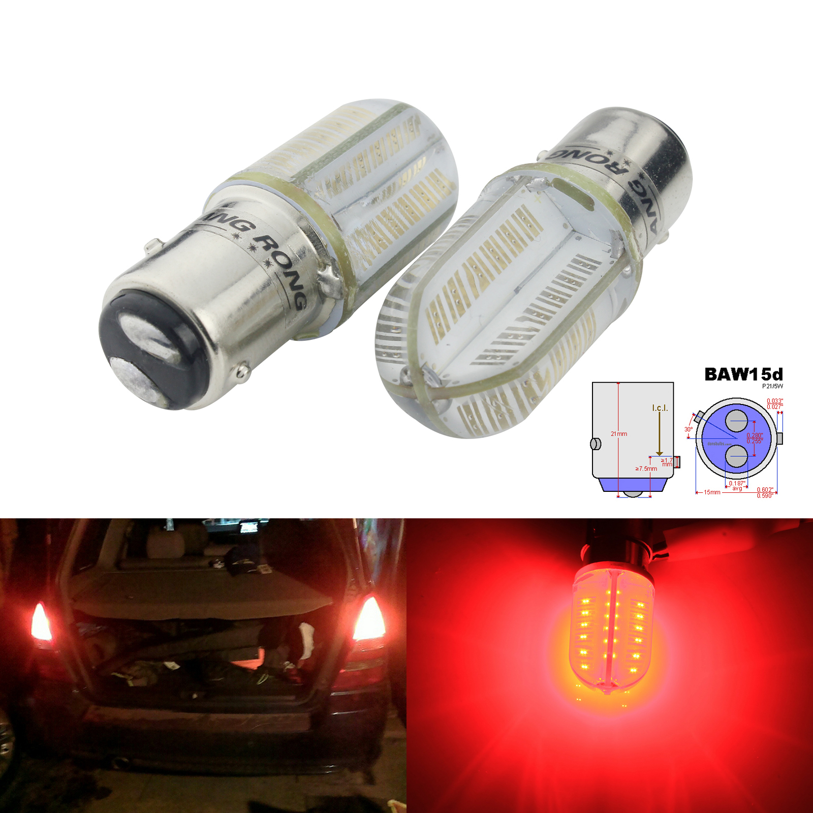 ANGRONG 2x 567 PR21/5W BAW15d Red COB LED Bulbs Rear Tail Brake Stop Light
