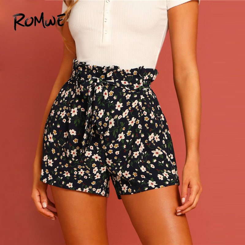 ROMWE Tie Waist Flower Print   Shorts   Swish Women Belted Straight Leg   Shorts   2019 Ducky Young Chic Summer High Waist   Shorts