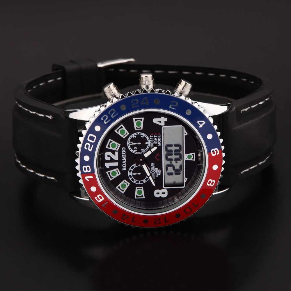 Relojes deportivos de marca BOAMIGO relojes de pulsera de cuarzo militar para hombre reloj de goma Digital LED para hombre