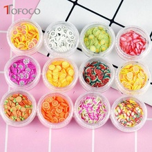 TOFOCO 12 Type/Set Fruit Slices Filler For Nails Art Tips/Balls Slime Fruit For Kids Lizun DIY Accessories Supplies Decoration цена