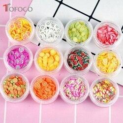 Tofoco 12 tipo/conjunto de frutas fatias enchimento para unhas dicas da arte/bolas slime frutas para crianças lizun diy acessórios suprimentos decoração