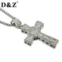 D Z Hiphop Rock 316L Titanium Stainless Steel Paving CZ Cross Pendants Necklaces For Men Jewelry