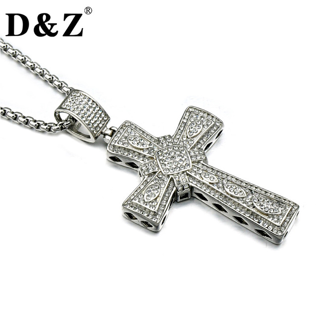 Dz iced out men cross necklace stainless steel full paving cz cross dz iced out men cross necklace stainless steel full paving cz cross crucifix pendants necklaces for mozeypictures Choice Image