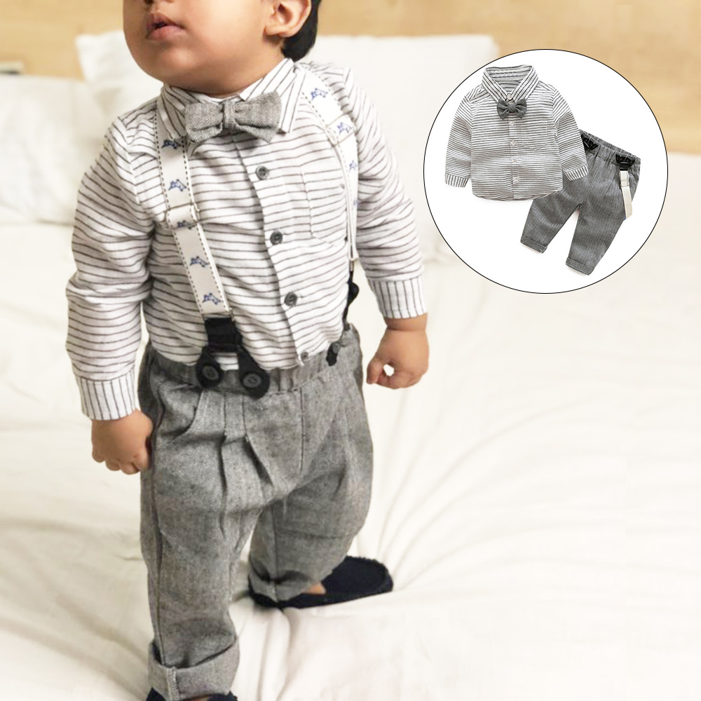 Autumn Fashion Infant Clothing Baby Suit Baby Boys Clothes Gentleman Bow Tie Grey Striped Shirt+Overalls Baby Set одежда на маленьких мальчиков