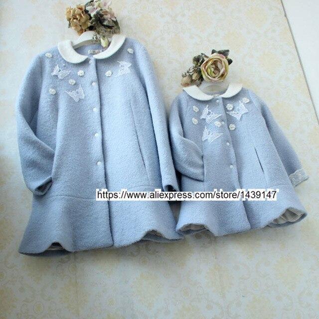 Зима Kid clothing Семья Отцовства пальто матери и Дочери девушки женщина Материнства куртка внешний Синий шерстяное пальто цветок бабочка