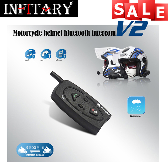 500 m plus Bluetooth motorcycle intercom HD binaural headset stereo music wind and waterproof high-power automatic answer phone