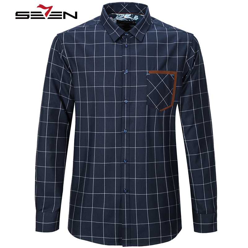4b5ee5043c4 Seven7 Print Flannel Plaid Shirt Male Checked Cotton Mens Casual Long  Sleeve Checkered Shirts Luxury Imported Clothing 113A38160