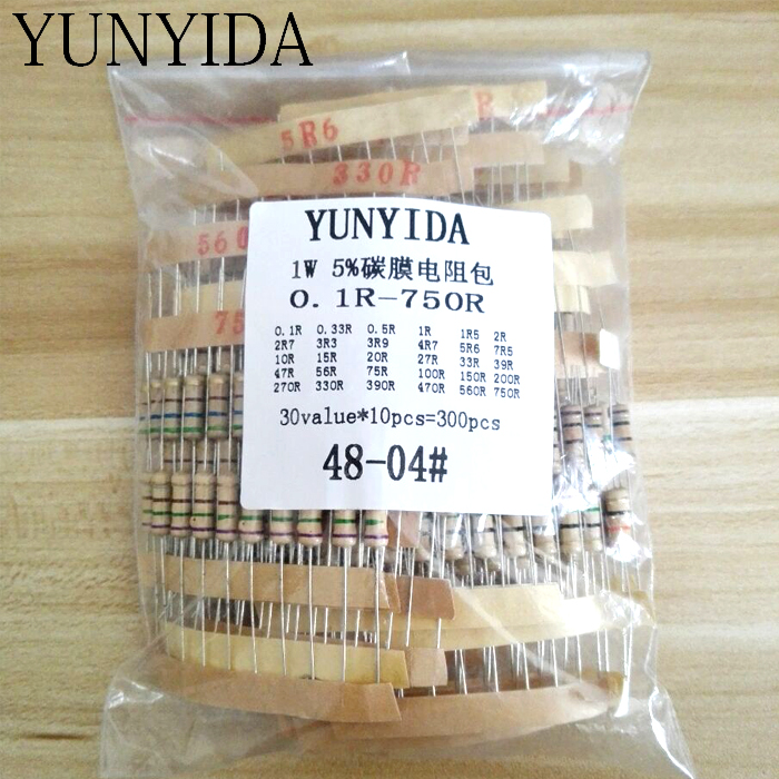 300pcs Resistor Kit 1W 5%  30values X 10pcs  Carbon Film Resistance 0.1-750 Ohm  Set