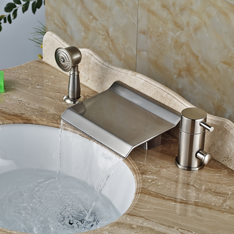 Modern Wide Waterfall Bathtub Mixer Faucet Widespread Bathroom Tub Hot and Cold Tap Brushed Nickel Finish