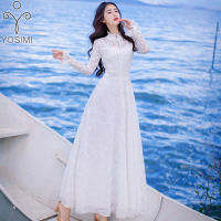 YOSIMI 2018 Summer Lace Long Women Dress Maxi Vintage White Evening Party Tunic Long Sleeve Band Dress Fairy Female Vestidos