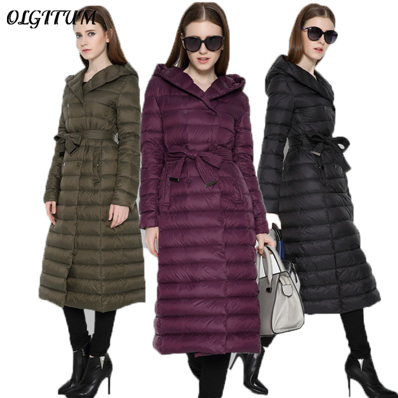 2017 fashion winter jacket women duck cotton coat high collar with belt parkas for women winter warm outerwear coats light cotto