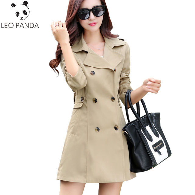 2017 Women Trench Coat Fashion Lace Slim Double-Breasted Trench Coats Female Casual Windbreaker Outwear Casaco Raincoat SUN125