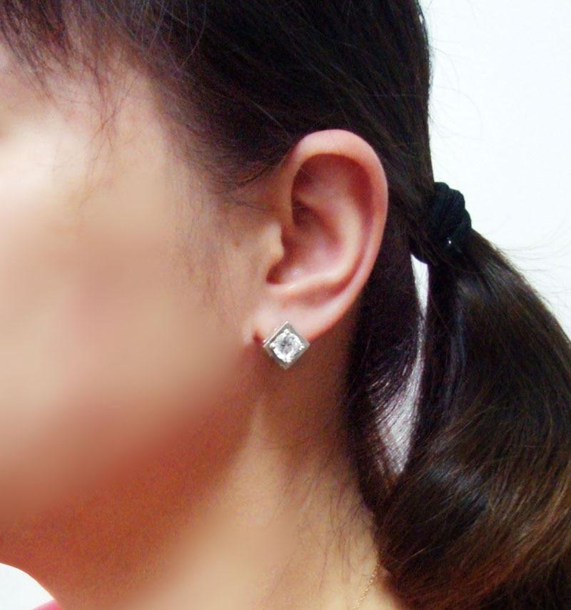 Elegant charming white zircon crystal cubic square earrings solid 925 sterling silver woman / men / boy earrings luxury jewelry
