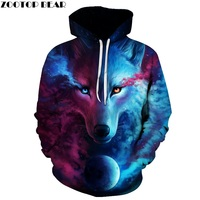 2017 Hot Sale Brand Wolf Printed Hoodies Men 3D Sweatshirt Quality Plus Size Pullover Novelty 6XL