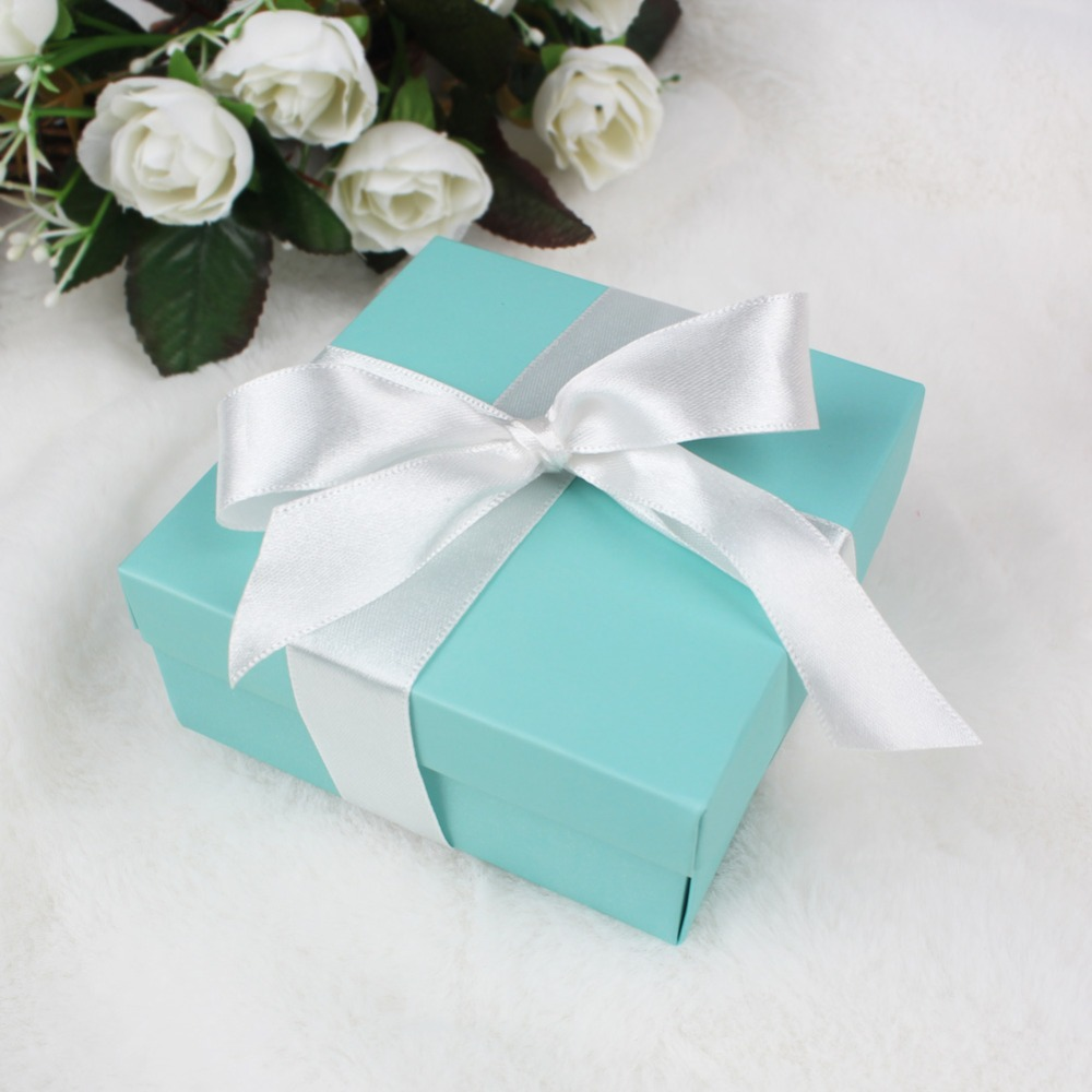 50pcs Candy Box Wedding Favor Sweets Chocolates Turquoise Square Box ...