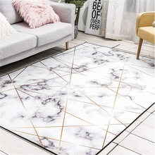 Fashion Nordic style imitation marble white color carpet ins bedroom living room crystal velvet floor mat plush non-slip doormat
