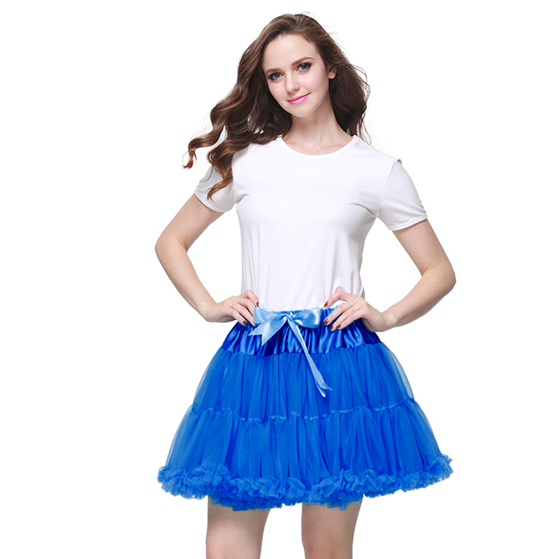 B & N Custom 45cm lang 2 Lagen 1 Futter Fluffy Tutu Minirock Erwachsene Frauen kurz Pettiskirt Party Dance Performance Teenager