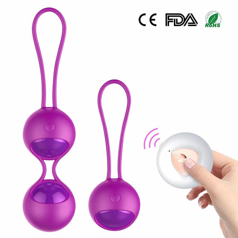 Juguetes sexuales vibrador con Control remoto para mujer, bolas de Kegel Vaginal, bolas de Ben Wa, bolas de Geisha Vaginal chinas, simulador de Kegel