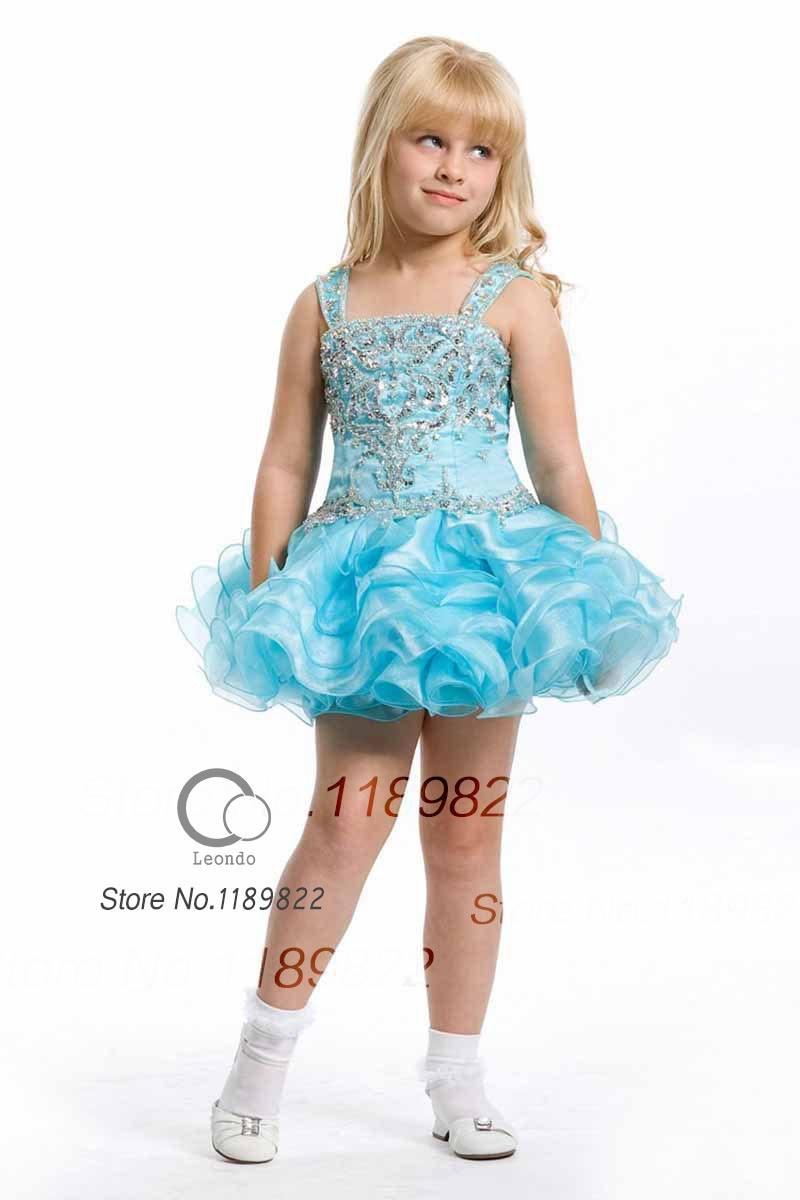 8935f0239 Spaghetti Strap Mini Organza Blue A Line girls short pageant dresses ...
