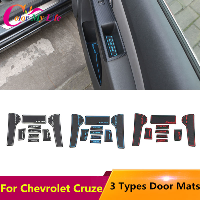 Car Anti-slip Non-slip Rubber Water Cup Sticker Gate Slot Pad Door Groove Mat for Chevrolet Cruze 2009 - 2015 AccessoriesCar Anti-slip Non-slip Rubber Water Cup Sticker Gate Slot Pad Door Groove Mat for Chevrolet Cruze 2009 - 2015 Accessories