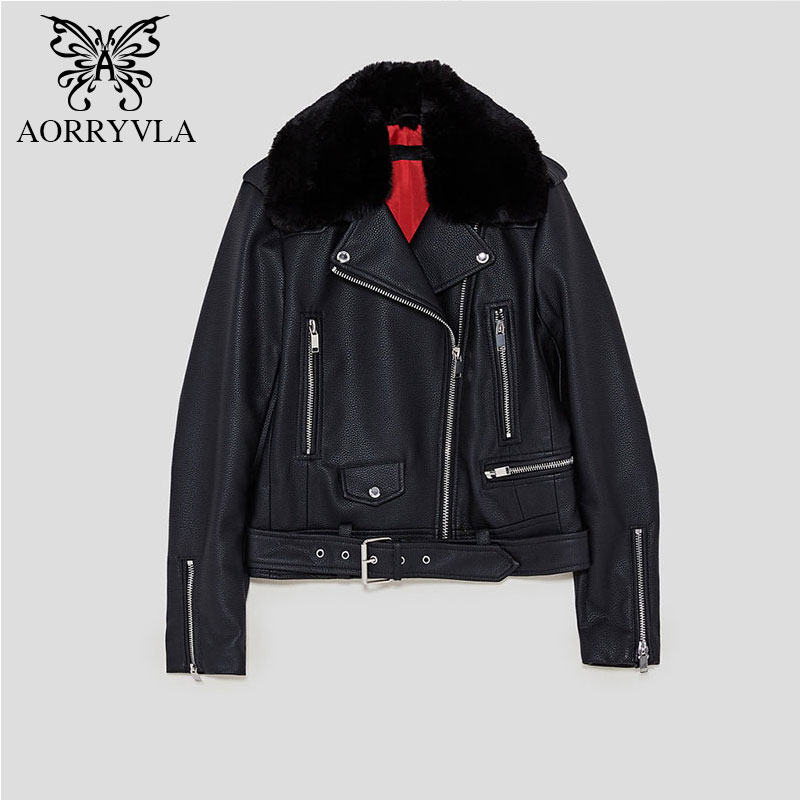 AORRYVLA Bland   Leather   Jacket For Women Autumn 2018 Fur Collar Belt Decorated Turn-Down Collar Short Motorcycle Jacket Hot Sale