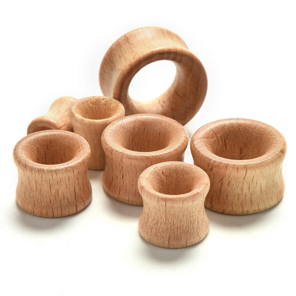 Wholesales 1 Pair Body Jewelry Hollow Plug Piercing Ear Expander Natural  Wooden Plugs Gauges Flesh Ear Tunnels
