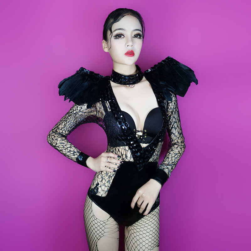 Bar sexy gauze perspective dj female singer lead dance dress night ds costumes new sexy piece