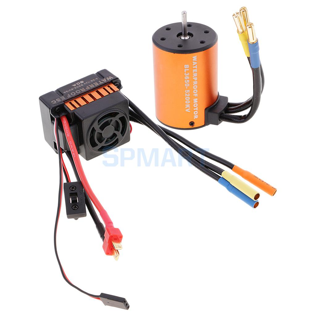 Waterproof 3650 5200KV Brushless Motor with 60A ESC for 1/10 RC Car Truck Boat surpass hobby upgrade waterproof 3650 3900kv rc brushless motor with 60a esc combo set for 1 10 rc car truck motor kit