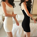 2017 Ladies Women Summer Casual Sexy Strap Slip Sleeveless O Neck Solid Color Pencil Dress Black White Nude size