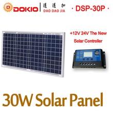 DOKIO 30W Solar Panel China 30 Watt 18V Polycrystalline Solar Panel + 10A 12V/24V Solar Controller Solar Cell/Module/System
