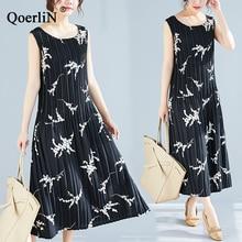 QoerliN Basic Vest Dress Women 2019 Summer Beach Pleated Sleeveless Pocket Loose Stretch Casual Streetwear Plus Size Cloth