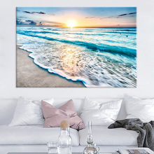 Dream home generation simple seaside sunrise landscape living room decoration picture hanging frameless core