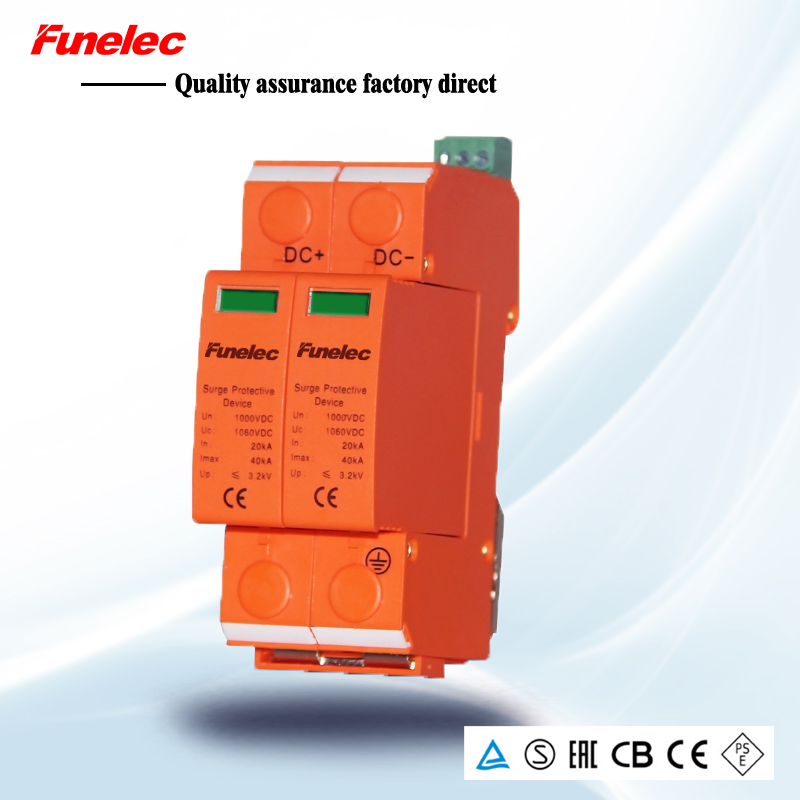 DC 2P 20KA~40KA 500V DC Surge Protector protection Low-voltage Arrester Device household switch Wind power system towe ap c40 pv600 pv systems 600v dc system power class c protection 4 modulus imax 40ka up 2 2v thunder protector