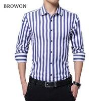 BROWON брендовые новые мужские полосатые повседневные рубашки с длинным рукавом мужские хлопковые рубашки с отложным воротником Chemise Homme боль...