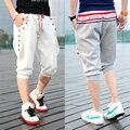 Em! verão costela tricô bloco de cor tridimensional breasted calça casual calças capris Casuais masculinos