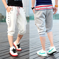In ! summer rib knitting color block three-dimensional breasted casual pants male Casual capris