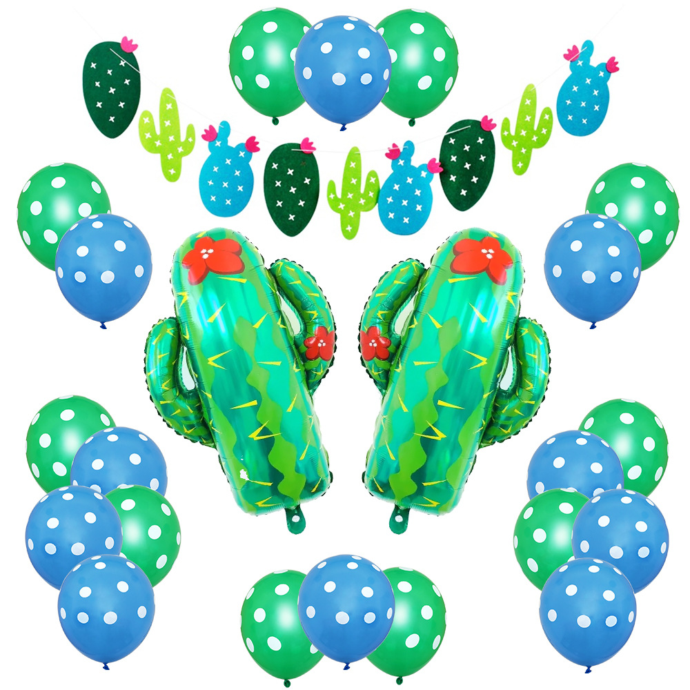 1set New large cactus Foil balloon Happy Birthday decoration summer party wedding Decor Inflatable plant toys baby shower in Ballons Accessories from Home Garden