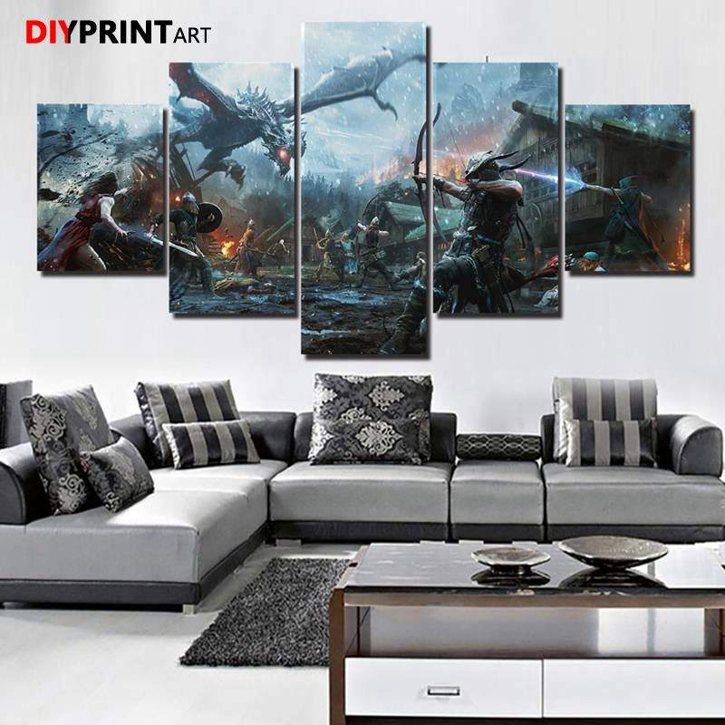 A Room Fit For An Archer: Elder Scrolls Skyrim 5 Panel Wall Picture Archer Battle
