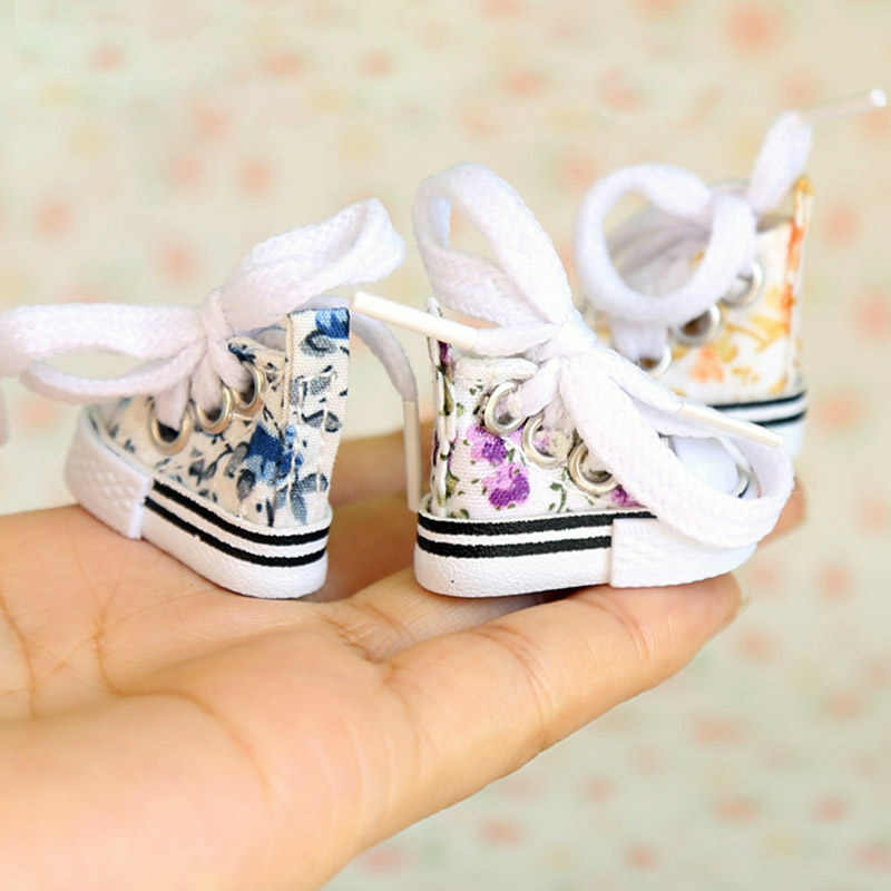 3.6cm Doll's Floral Canvas Blyth doll Shoes for 1/6 bjd, Azone,pullip, Blyth Joint dolls Accessories