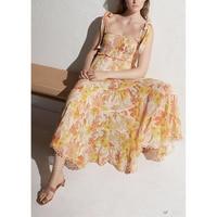 Летние платья Для женщин яркий цветочный принт вышивка ленты лук Cutout Midi пляжный отдых Vestidoes богемное длинное платье