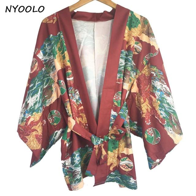 NYOOLO Vintage bluse Japan stil tops kylin welle druck chiffon ...