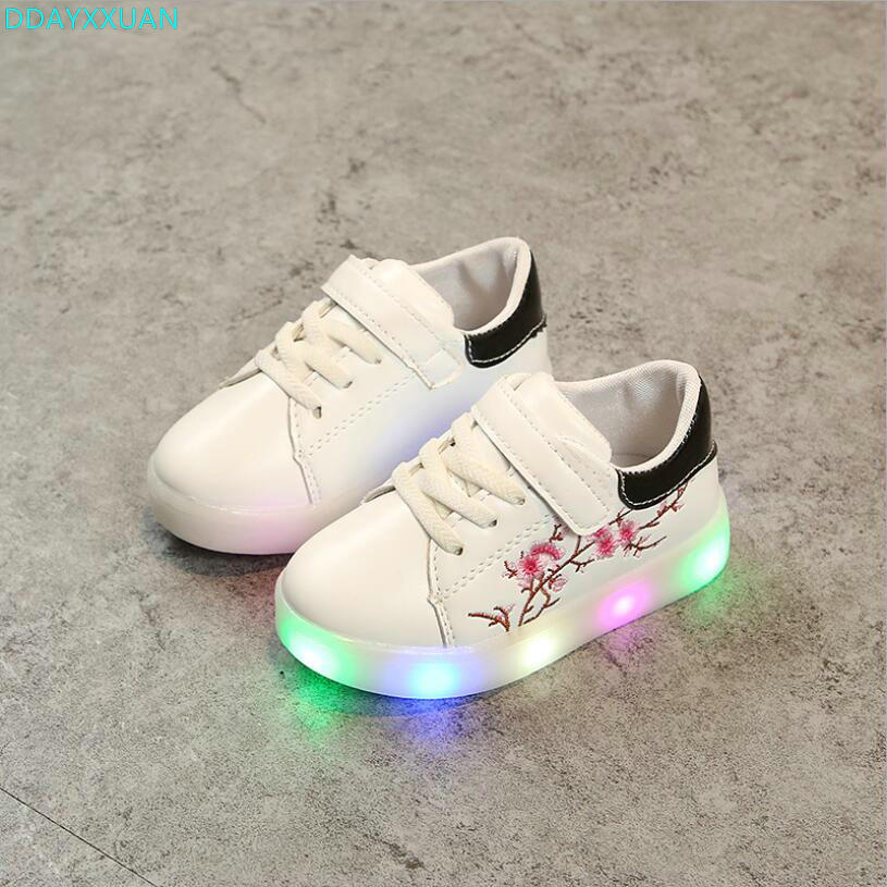 2018 European cartoon LED colorful glitter baby sneakers Hook&Loop girls boys toddlers s ...