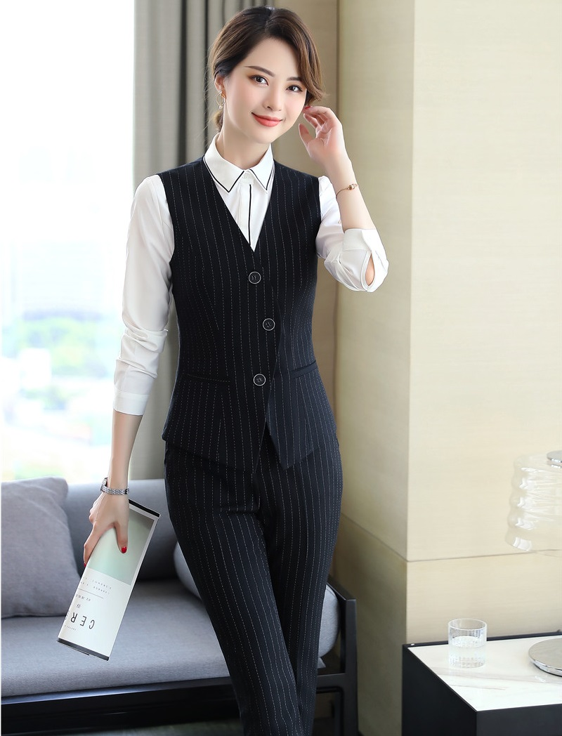 Fashion Striped Formal Uniform Designs Business Suits With Tops And Pants For Ladies Office Wear Vest Coat & Waistcoat Sets