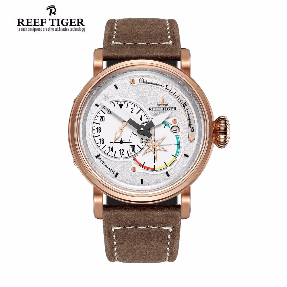 Reef Tiger/RT Pilot Watches for Men White Dial Rose Gold Military Watches Automatic Watch with Date  RGA3019 reef tiger designer fashion diamonds automatic watch with white mop dial steel watches for women rga1550