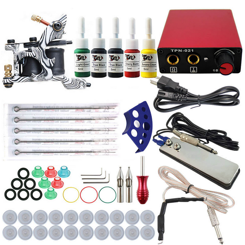 Complete profession Tattoo kits 1 guns machine sets power supply disposable needle clip cord