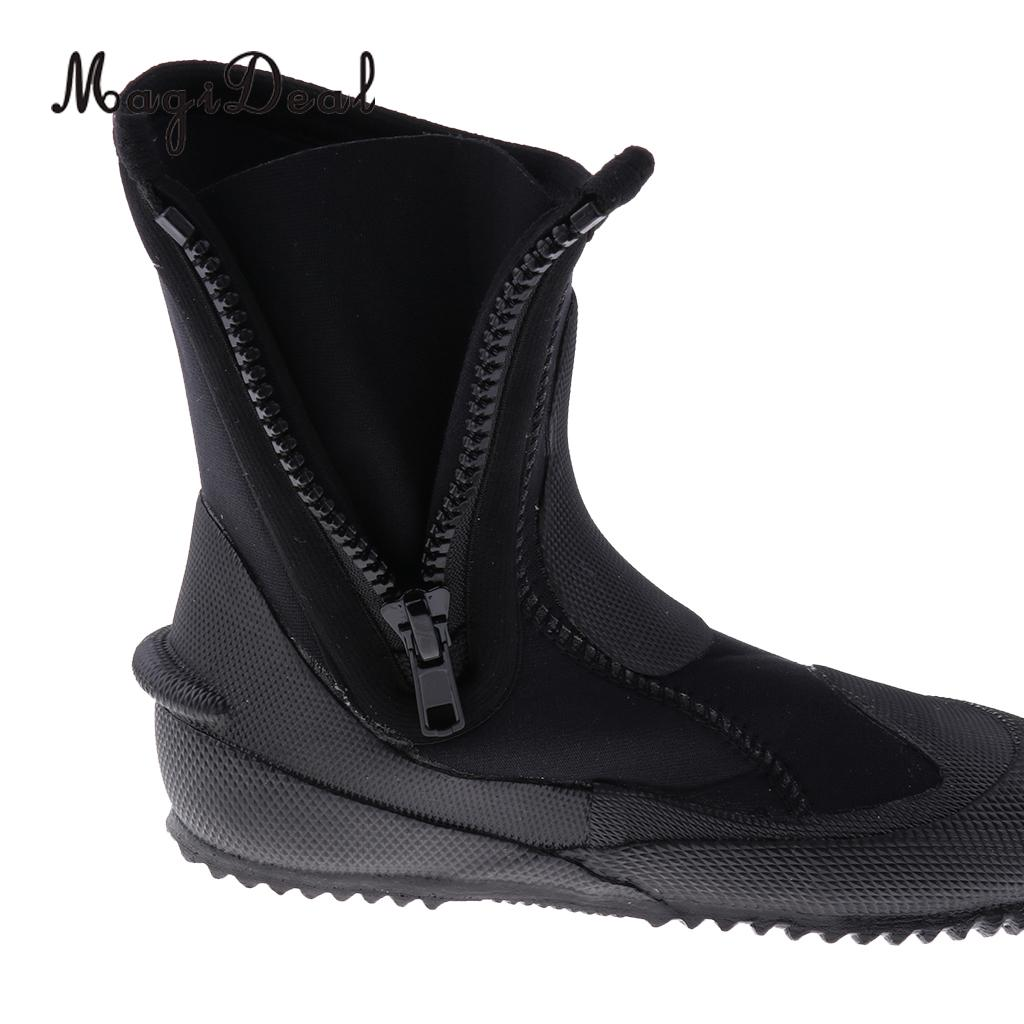 MagiDeal Unisex 5mm Premium Neoprene Hi Top Wetsuits Zipper Boot Diving Boots Water Sports Snorkeling Booties Shoes Black